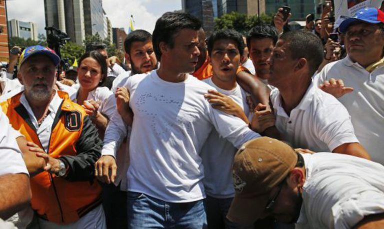 Leopoldo López, em uma manifestação em 18 de fevereiro.
