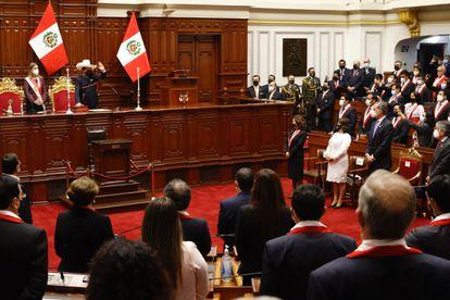 Pedro Castillo durante sua posse como presidente do Peru.