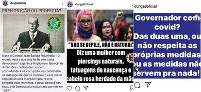 Nas redes sociais, Dunga endossa o general João Figueiredo, mas é crítico de movimentos feministas, políticos de esquerda e medidas de isolamento  social.