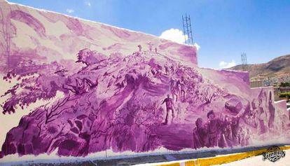 Mural que mostra a história dos primeiros povoadores de Las Palmitas. Cortesia de Germen Novo Muralismo