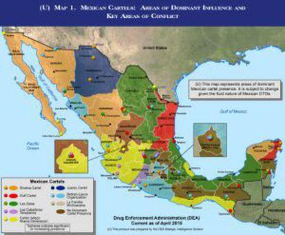 Mapa dos territórios dos cartéis de drogas mexicanos.
