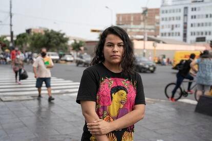 Desiree Huaranga, no centro de Lima onde ocorreram os protestos de novembro.