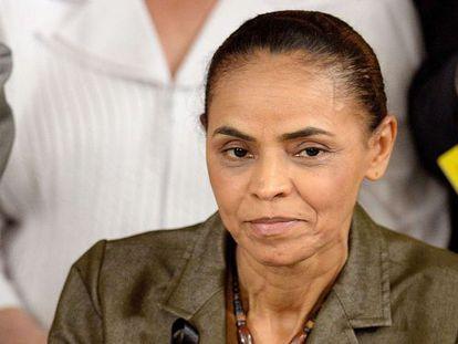 Marina Silva durante uma coletiva de imprensa do PSB.
