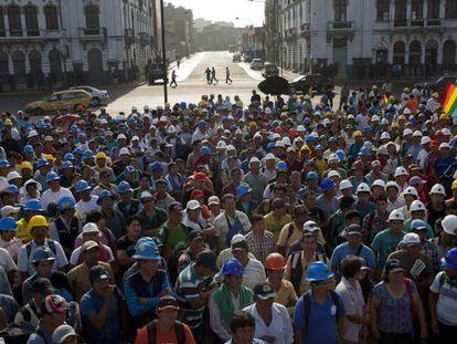 Protesto de mineiros em Lima, na sexta-feira passada.