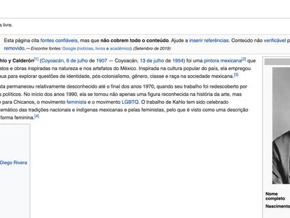 Página de Frida Kahlo na Wikipedia em português