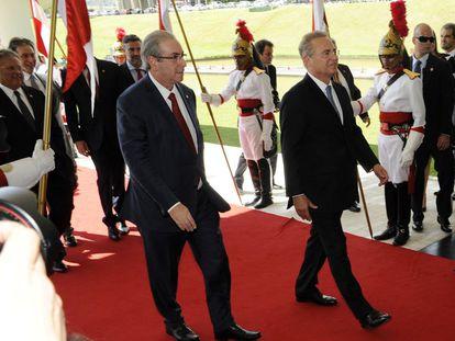 Cunha e Calheiros no Congresso, no dia 2.