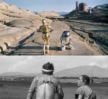 Fotogramas de O Retorno de Jedi e A Fortaleza Escondida de Kurosawa.