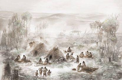 Ilustração de como seria o povoado da Menina-Criança do Nascer do Sol.