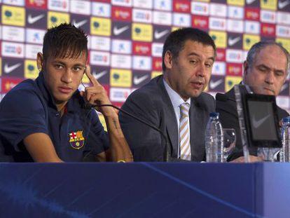 Neymar durante sua apresentação ao Barça, em 2013.