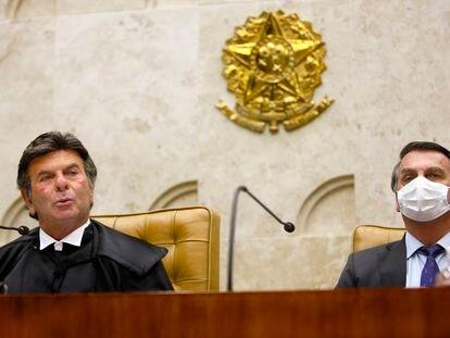 Luiz Fux e Jair Bolsonaro na posse do ministro como presidente do STF.