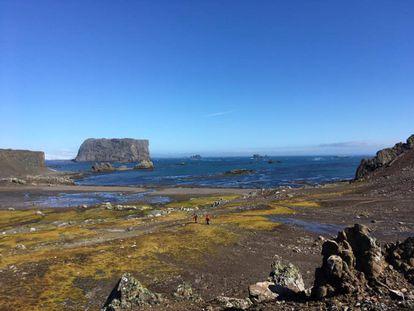 Cientistas caminham na baía de Fildes, na ilha Rei Jorge, extremo norte da península antártica.