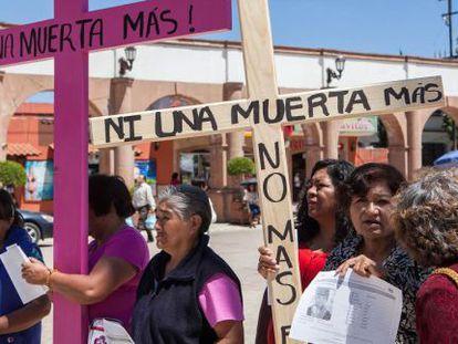 Manifestação em Tultitlán pelas vítimas.