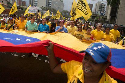 Manifestação contra o Governo Maduro em Caracas.