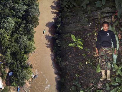 José Gregorio, líder da Guarda Indígena Ambiental, em um retrato em que usa a camiseta de sua organização na Amazônia colombiana.