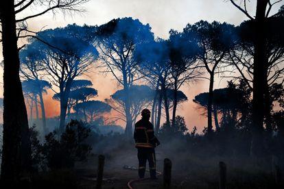 Bombeiros tentam apagar um incêndio nos arredores de Cannet des Maures, na França, em 17 de agosto de 2021.