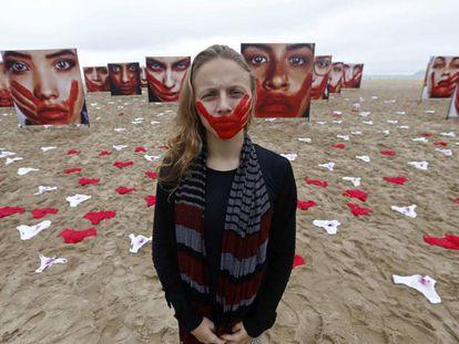 Manifestação no Rio lembra as vítimas de abuso sexual.