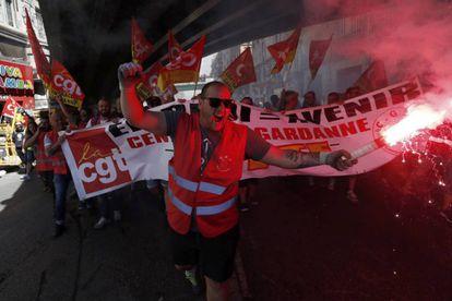 Um momento da manifestação em Marselha.