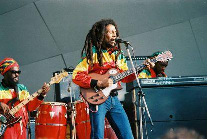 Bob Marley durante um show em 1980.