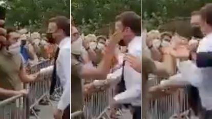 Sequência em que um homem esbofeteia Macron.