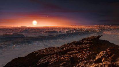 Reconstrução do planeta Próxima b.
