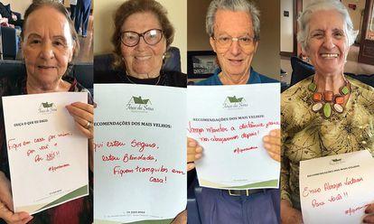 Casa de repouso exibe mensagens de idosos impedidos de receber visitas por causa do coronavírus.