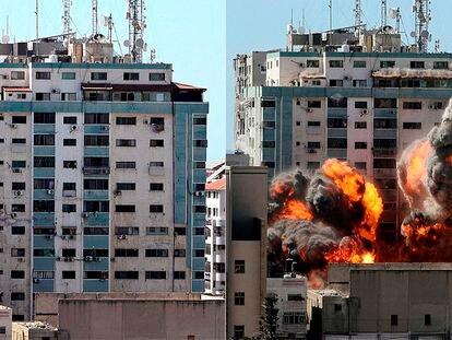 O bombardeio do edifício de veículos internacionais em Gaza, em imagens