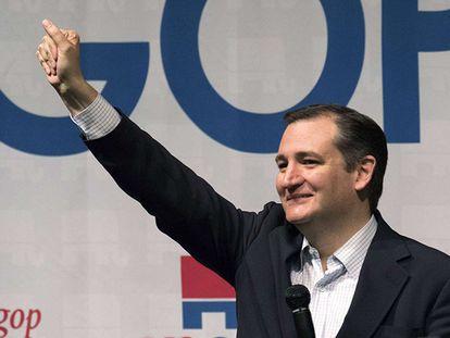 Ted Cruz em um ato de campanha.