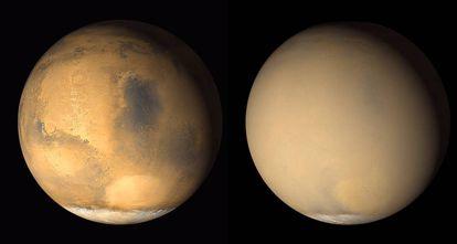 A imagem da direita mostra o planeta coberto por uma enorme tempestade de areia.