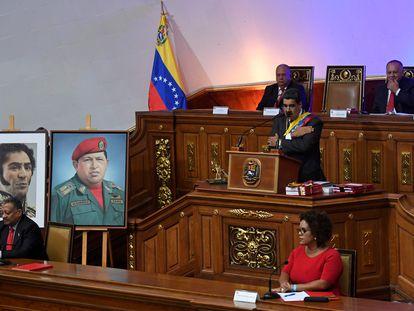 O presidente Nicolás Maduro durante um discurso na Assembleia Constituinte, em janeiro de 2020.