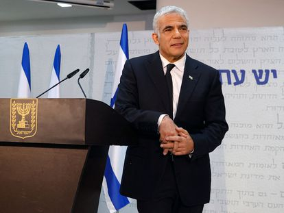 O líder centrista israelense Yair Lapid, na quinta-feira, em Tel Aviv.