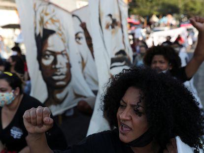 Protesto contra violência policial e racismo em São Paulo, em 4 de julho.