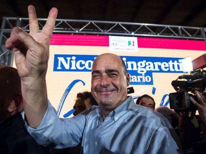 O novo secretário geral do PD, Nicola Zingaretti, depois de ganhar as primárias.