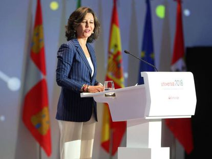 A presidenta do Banco Santander, Ana Patricia Botín, em Salamanca nesta segunda-feira