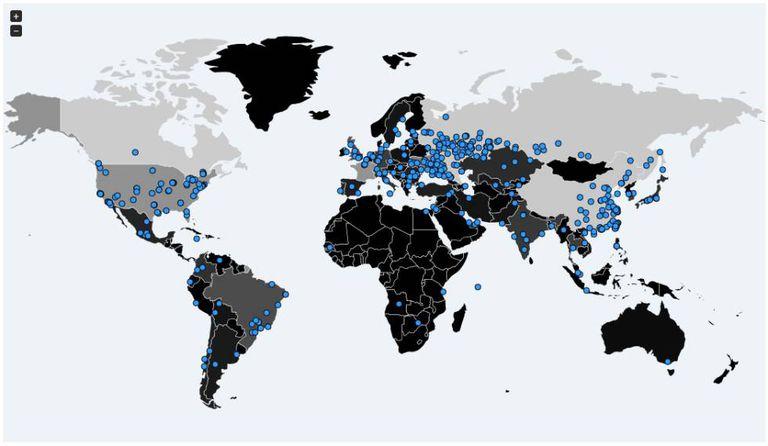 A equipe de pesquisadores independentes de ciberseguridad Malware Tech criou um mapa com os sítios nos que se detectou o 'ransomware'.