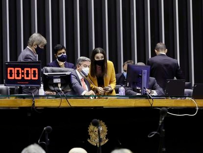 O presidente da Câmara, Arthur Lira, e a deputada Margarete Coelho, relatora da PEC da Imunidade.