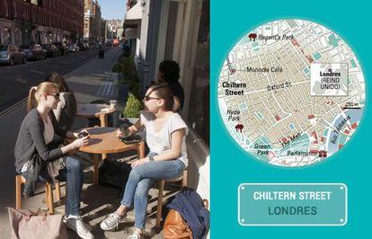 O Café Monocle na rua Chiltern, em Londres.