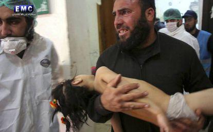 Imagens feitas após ataque químico na Síria.