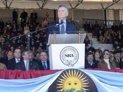 O presidente argentino, Mauricio Macri, na abertura da feira de exposição da Sociedade Rural.