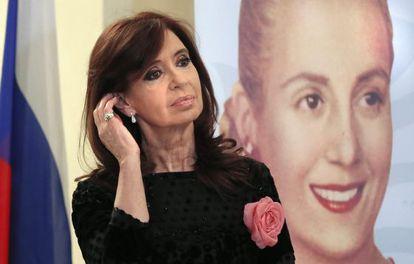 """Cristina Kirchner, na exposição """"Eva Perón""""."""