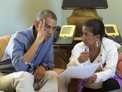 O presidente Barack Obama e sua assessora Susan Rice.