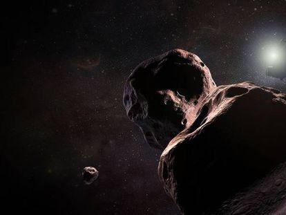 Reconstrução da sonda 'New Horizons' sobrevoando Ultima Thule.