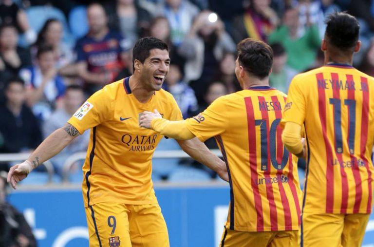 Suárez comemora seu segundo gol.