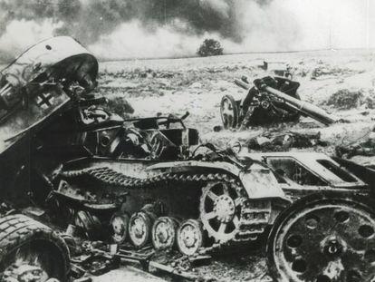 Blindados alemães destruídos em Stalingrado.