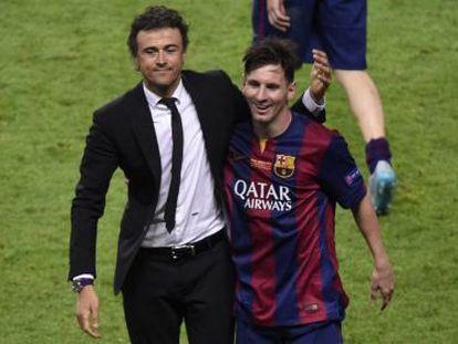 Luis Enrique e Messi celebram a Champions em Berlim.