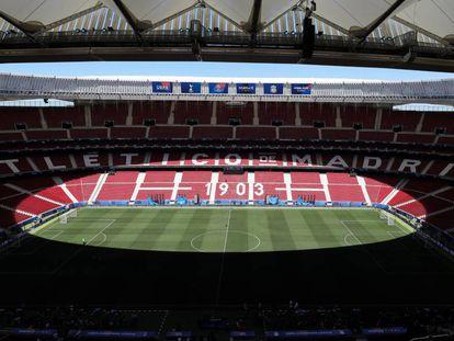 O estádio Wanda Metropolitano, em Madri, sede da final da Champions.