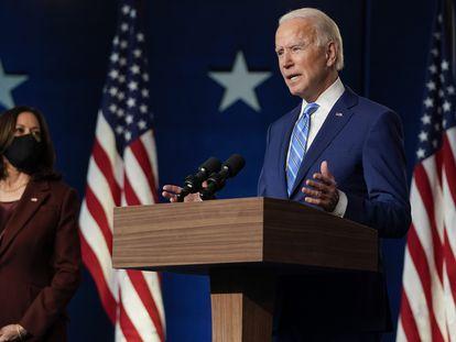 Joe Biden discursa nesta quarta, em Wilmington (Delaware).