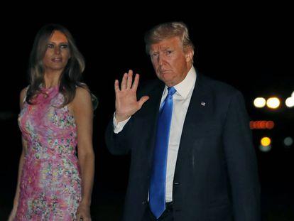 Donald Trump com sua esposa, Melania, em 25 de julho, na Casa Branca.