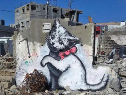 """Novos trabalhos do artista de rua incluem um gato, pois """"na internet as pessoas só olham fotos de gatinhos"""""""