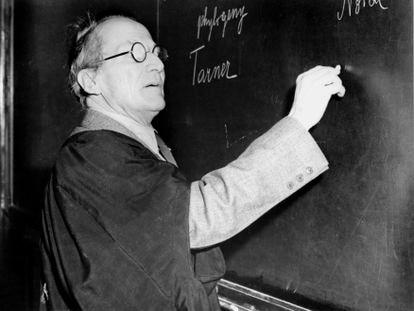 Erwin Schrodinger, físico austríaco, lecionando em meados de 1950.