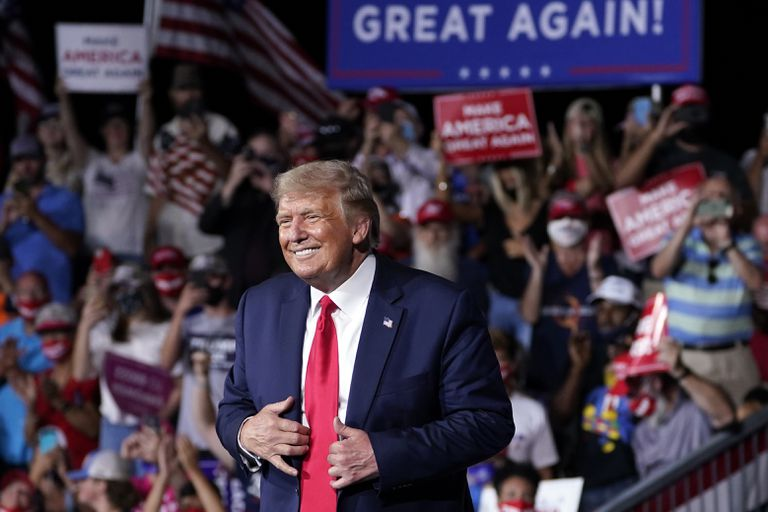 O presidente dos Estados Unidos, Donald Trump, em um comício em Winston-Salem, na Carolina do Norte, em 8 de setembro.
